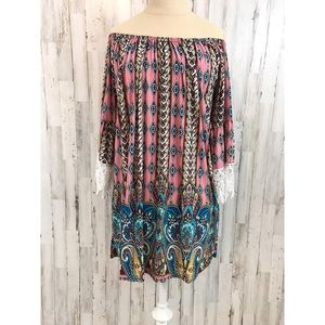 Win Win 🦄 boho off shoulder tunic dress L/XL